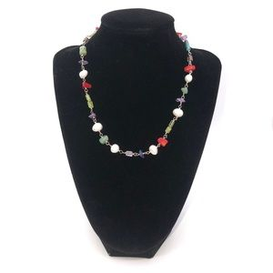 Silpada Silver Necklace Pearls & other Gem Stones
